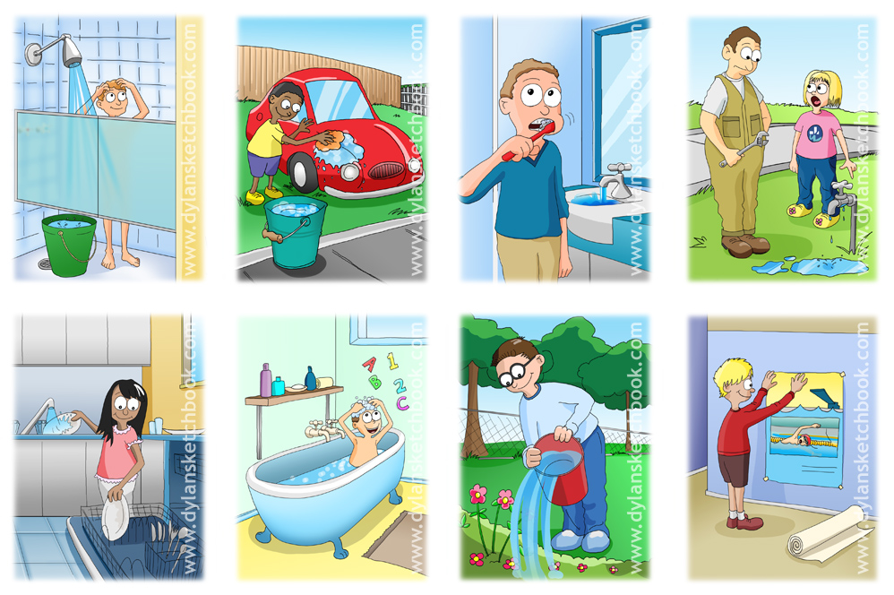 Cartoons created for water saving education - back to cartooning
